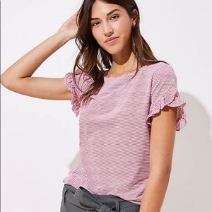 Loft red and white striped petal tee